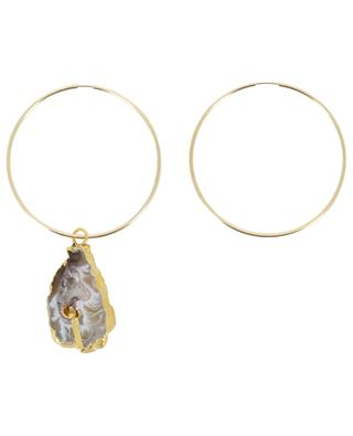 Large hoop earrings with druzy RUEBELLE MAUI PARIS