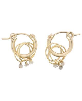 Dimond small labradorite charm hoop earrings RUEBELLE MAUI PARIS