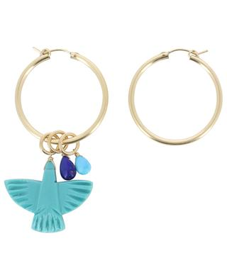 Eagle golden hoop earrings with turquoise charms RUEBELLE MAUI PARIS