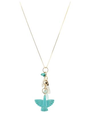 Eagle long golden necklace with turquoise RUEBELLE MAUI PARIS