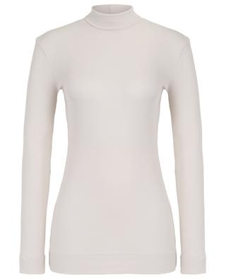 Fine fitted rib knit jumper with stand-up collar SLY 010