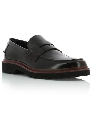 Brushed leather loafers with strap detail TOD'S