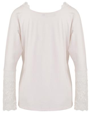 Lace-embellished modal and silk top ZIMMERLI