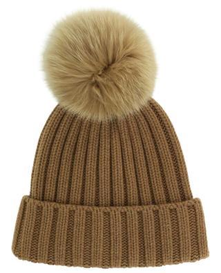 Batik rib knit wool beanie with fur pompon NIMA