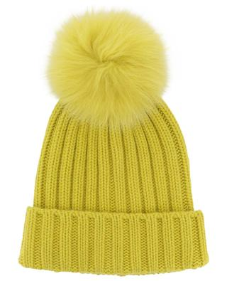 Batik rib knit wool beanie with fur pompon NIMA