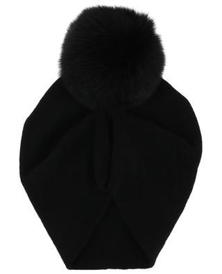 Mütze mit Raffung und Pelzbommel Batik NIMA