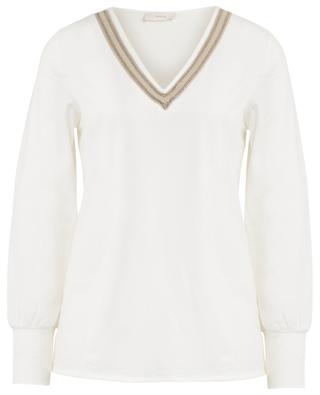 Elara jersey pyjamas with embroidered V-neck PLUTO
