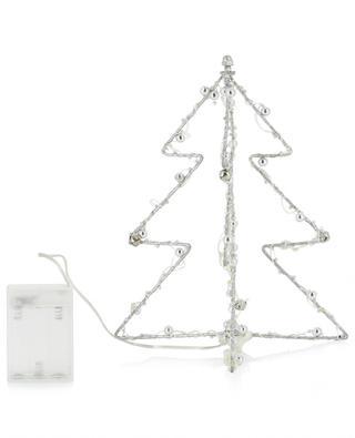 Silberne Minitanne mit LED Silver Bauble ENCHANTE