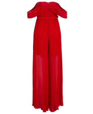 Dark Red pleated off-shoulder jumpsuit SELF PORTRAIT