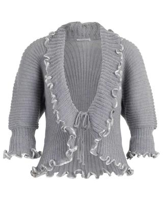 Ruffled lace-up cardigan with satin LISANZA