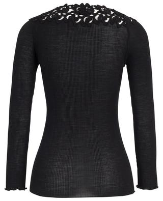 Ribbed long-sleeved top adorned with guipure LISANZA