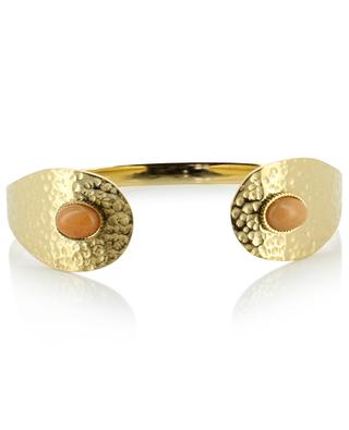 Open hammered bracelet with stone IKITA