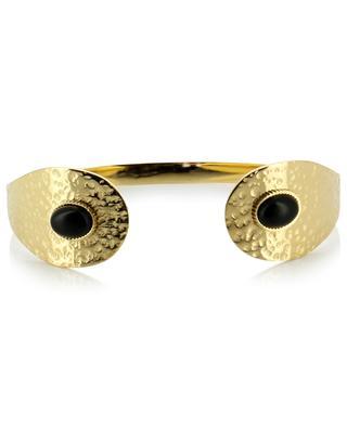 Bracelet ouvert martelé avec pierre IKITA