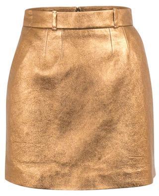 Grained golden leather miniskirt SAINT LAURENT PARIS