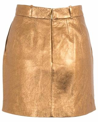 Grained golden leather miniskirt SAINT LAURENT PARIS