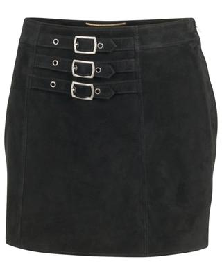 Suede miniskirt with belt buckles SAINT LAURENT PARIS