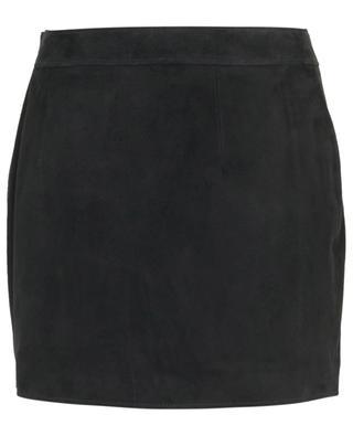 Suede miniskirt with belt buckles SAINT LAURENT PARIS