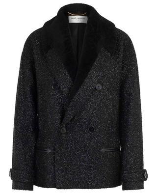 Veste scintillante esprit caban avec peau lainée SAINT LAURENT PARIS