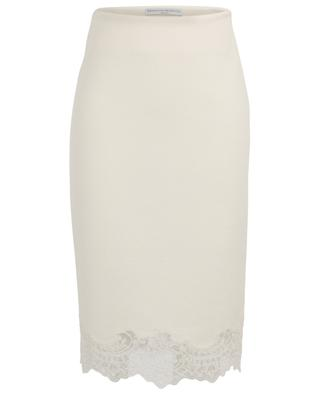 Bouclé knit pencil skirt with embroidered tulle ERMANNO SCERVINO