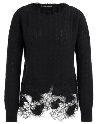 Long airy cable knit jumper with delicate lace ERMANNO SCERVINO