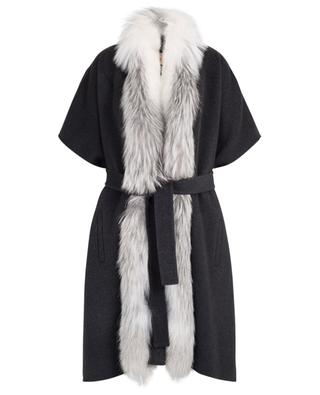 Fox fur trimmed wool and cashmere cape YVES SALOMON