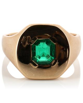 Chevalière pink gold and emerald ring GBYG
