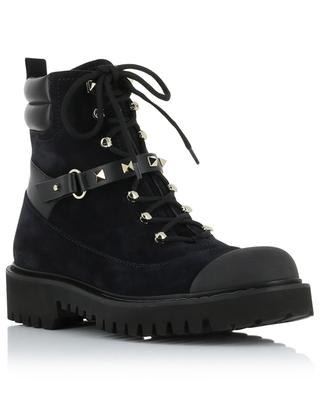 Rockstud combat spirit lace-up booties VALENTINO