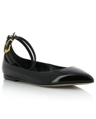 Patent leather ballet flats with ankle straps VALENTINO