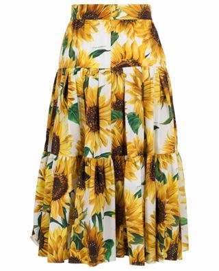 Jupe midi fleurie en popeline Sunflower DOLCE & GABBANA