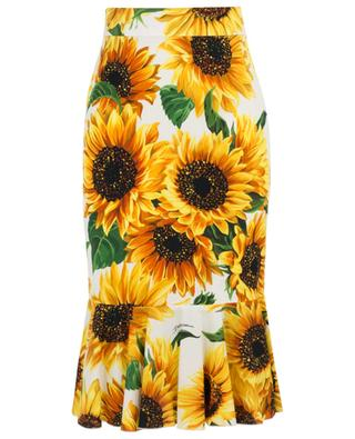 Sunflower print mid-length skirt DOLCE & GABBANA