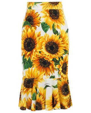 Sunflower print mid-length skirt DOLCE & GABBANA