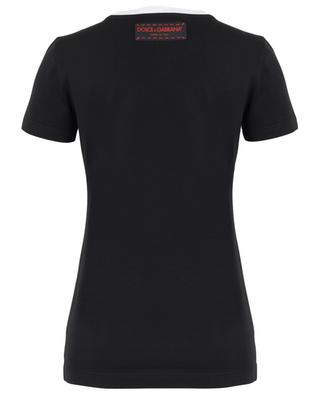 Fitted T-shirt with leopard head patch DOLCE & GABBANA