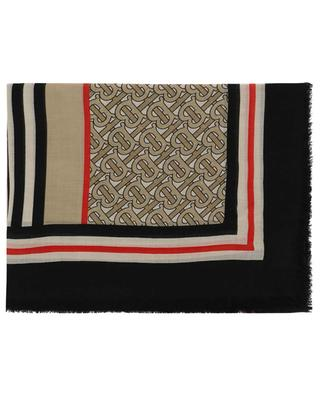 TB Monogram Gauze lightweight square shawl BURBERRY
