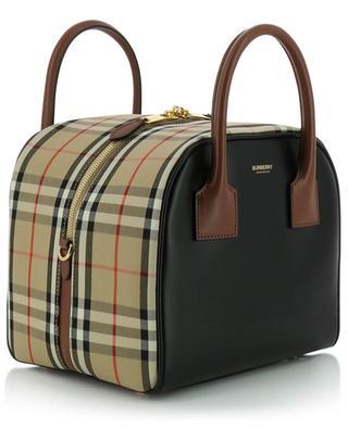 Karierte Handtasche aus Leder und Stoff Cube BURBERRY