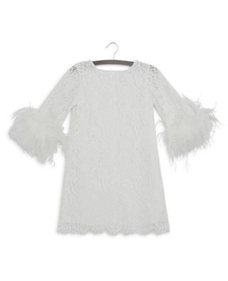 Elisa velvety lace dress with feathers CHARABIA