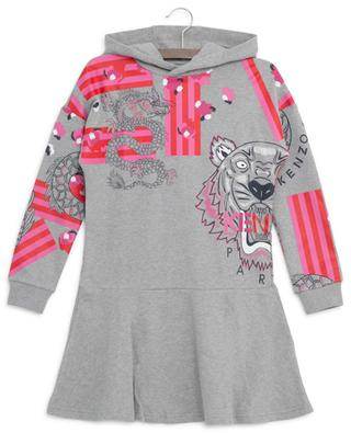Sweatshirt-Kleid aus Baumwolle mit Kapuze Japanese Flower KENZO