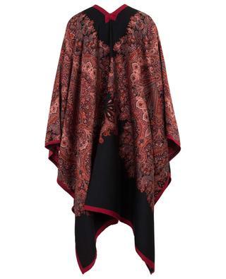 Paisley jacquard wool blend poncho ETRO