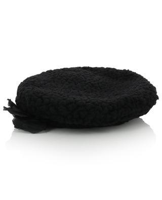 Flower adorned curly wool beret GREVI