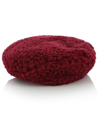 Flower adorned curly wool beret GREVI