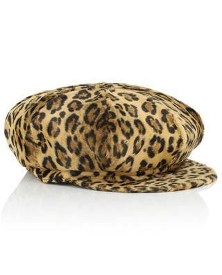 Leopard print velvet bakerboy hat GREVI