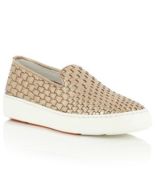 Geflochtene Slip-on Sneakers aus Metallic-Leder Malin SANTONI