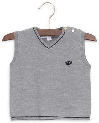 La Cérémonie wool sleeveless jumper with embroidered logo TARTINE ET CHOCOLAT