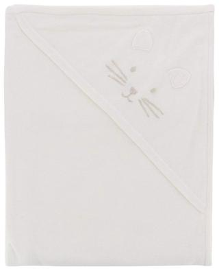 Cat-embroidered cotton and cashmere blend blanket TARTINE ET CHOCOLAT