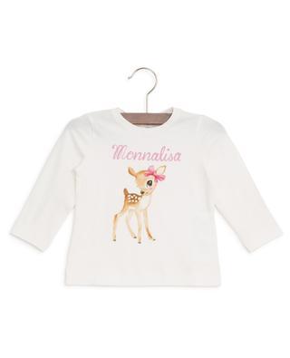 T-Shirt mit Reh-Print aus Baumwolle MONNALISA