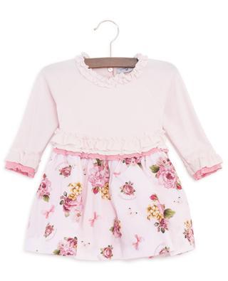 Rose printed bi-material dress MONNALISA