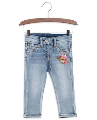 Faded jeans embroidered with fawn and florals MONNALISA
