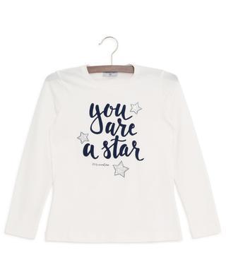 T-shirt à manches longues avec cristaux You Are A Star MONNALISA
