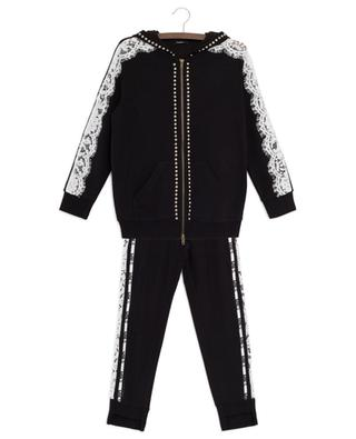 MNLS studded lace adorned track suit MONNALISA