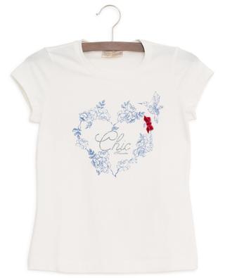 T-shirt imprimé d'un coeur fleuri Chic MONNALISA