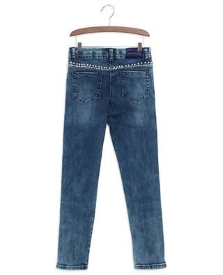 Pearl and crystal embellished skinny fit jeans MONNALISA